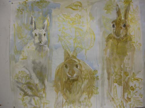 cases.works-on-paper-002.jpg - In the Case of Rabbits  Mixed media on paper. 127x 96 cm